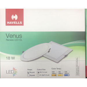 HAVELLS LED DOWN LIGHT SLIM REC. ROUND WARM WHITE 18WATTS