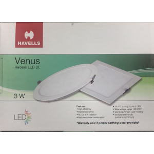 HAVELLS LED DOWN LIGHT SLIM REC. ROUND WARM WHITE 3WATTS