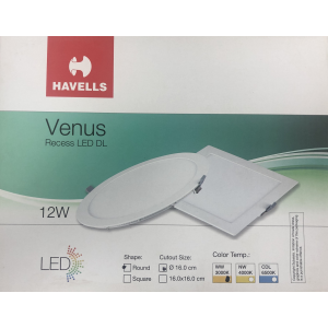 Havells Led downlight Slim Rec. Round WarmWhite 12Watts