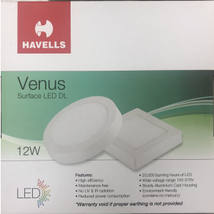HAVELLS  LED DOWN LIGHT SLIM REC. ROUNDWARM WHITE 12WATTS